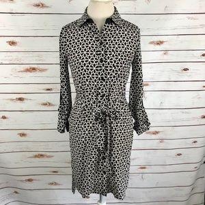 Diane Von Furstenberg Prita Shirt Dress Floral Geo
